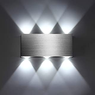 SISVIV Apliques de Pared Puro Aluminio 6 LED 6W Lámpara Pared Interior Moderno Luz Para Pasillo Dormitorio Escalera Blanco...
