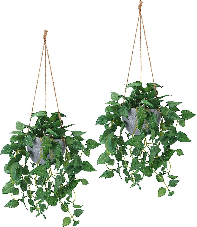 Hanging Plant Artificial Hanging Plants, 2ft Fake Hanging Plants, Faux Hanging Plant with Pot for Wall Home Room Indoor Outdoor Decor, 2 Pack