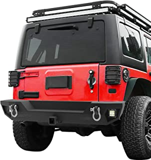 oEdRo Rear Bumper Compatible for 2007-2018 Jeep Wrangler JK Unlimited, Rock Crawler Bumper with Hitch Receiver & 2X LED Lights Off Road Textured Black