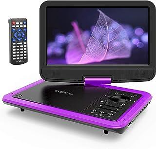 COOAU ポータブルDVDプレーヤー 10.5インチ 高画質液晶 大容量充電式バッテリー 5時間連続再生 270°回転 車載 軽量 リージョンフリー CPRM/USB/SDカード AV入出力 リモコン 日本語説明書付き 紫