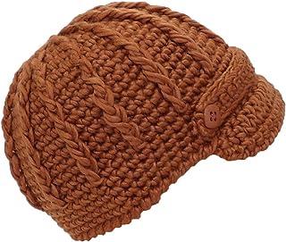 Angela & Williams Womens Crochet Winter Skull Cap W/Visor & Band (One Size)