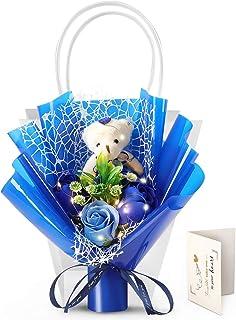 FAUAHL [LEDライト&ローズ]クマブーケ ソープフラワー花束 青いバラ ぬいぐるみ付き 枯れない花ドライフラワー くま束 造花 バラクマブーケ ハンドメイド プリザーブドフラワー 大切な人へ プレゼント お誕生日プレゼント 結婚祝い デ...