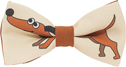 Dachshund pattern bow tie unisex pre-tied brown color, by Bow Tie House