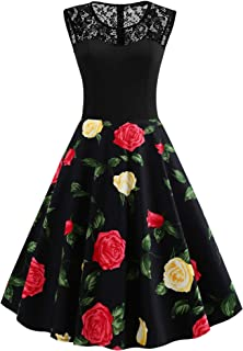 DIDK Women's Vintage Fit and Flare A Line Contrast Lace 1950s Floral Print Midi Tea Dress