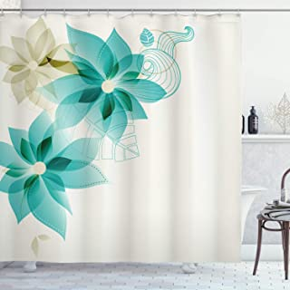 Ambesonne Teal Shower Curtain, Vintage Inspired Floral Design with Abstract Vibrant Colored Natural Elements, Cloth Fabric Bathroom Decor Set with Hooks, 84