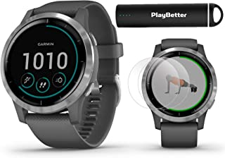 Garmin vivoactive 4 (Shadow Gray/Silver) Fitness Smartwatch Power Bundle | 2019 Model | with HD Screen Protectors (x4) & PlayBetter Portable Charger | Spotify, Music, Garmin Pay, Health Monitoring