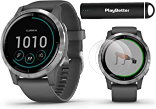 Garmin vivoactive 4 (Shadow Gray/Silver) Fitness Smartwatch Power Bundle   2019 Model   with HD Screen Protectors (x4) & PlayBetter Portable Charger   Spotify, Music, Garmin Pay, Health Monitoring