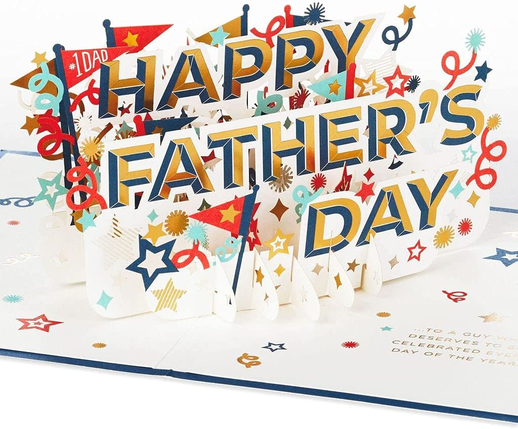 Max 79% OFF Boston Mall Blue Breeze Stars and Pennants Father's 3D Day Pop-Up Card