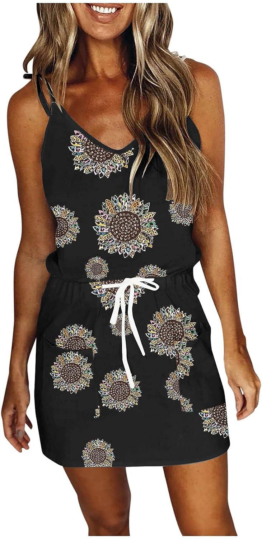 BAGELISE Summer Dresses for Women Casual V Neck Sleeveless Stripe Spaghetti Dress Swing Sling Strap Dress with Belt