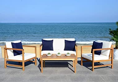 Safavieh PAT7030A Collection Montez Teak and White 4 Pc Accent Pillows Outdoor Set, Natural/Beige/Navy