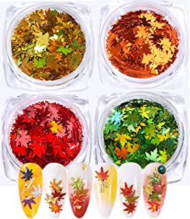 4 Boxes Fall Nail Sticker Decal DIY Colored Maple Leaf Sequins Laser Nails Art Glitters Thin Paillette Flakes Stickers Colorful Confetti Manicure Nail Art Supplies Nail Manicure Decals Decoration
