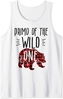 Mens Primo of the Wild One Buffalo Plaid Lumberjack 1st Birthday Tank Top