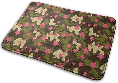 Pink Star Camouflage Carpet Non-Slip Welcome Front Doormat Entryway Carpet Washable Outdoor Indoor Mat Room Rug 15.7 X 23.6 inch