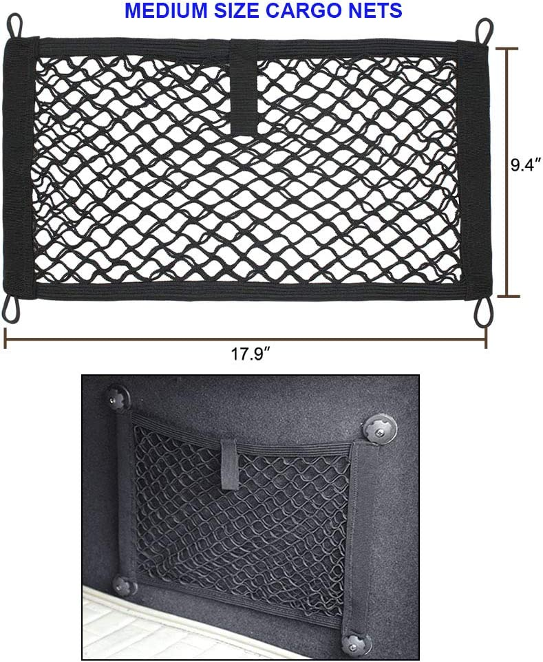2 Pack Boats Storage Mesh Pocket Net with 4 Mounting Screw and Built-in Hooks Large Cargo Net for Trunk RV JAVOedge