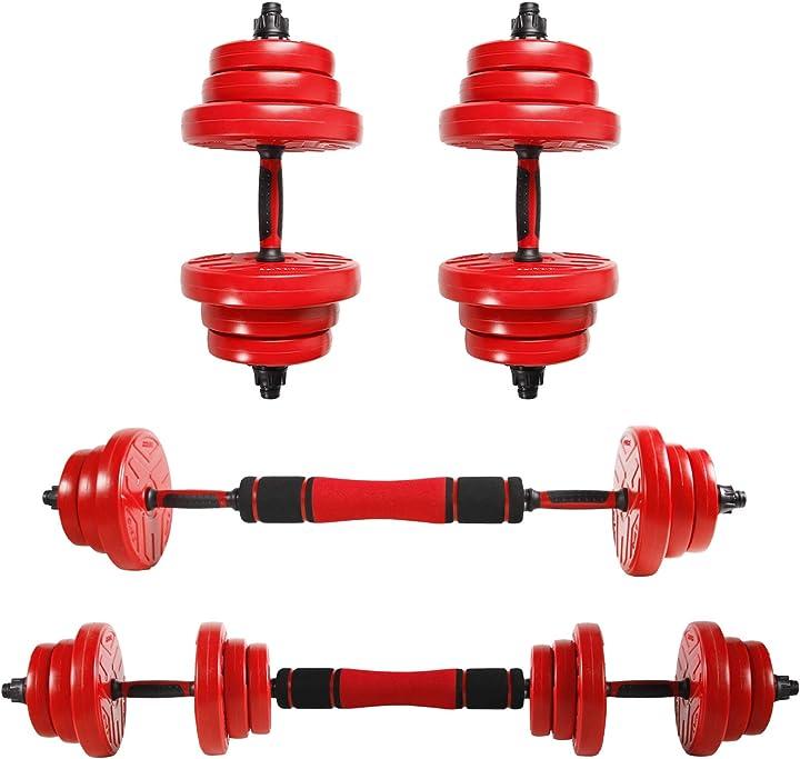 2in1 manubri regolabili 20kg 30kg allenamento di forza pesistica per casa, colore:con tubo 2x10 kg,rosso DHSTA0708V