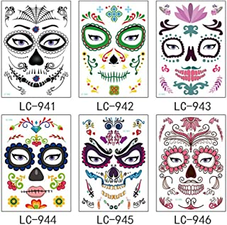 Lurrose 6pcs Halloween Face Tattoo Sticker Day of the Dead Skull Spider Waterproof Tatto