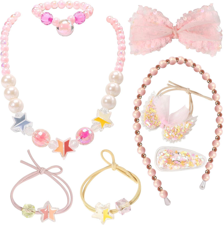 Princess Series Jewelry Sets for Kids Girl PinkSheep Pink Star Beads Necklace Bracelet Headbands Hair Clip Hair Ties 8pcs
