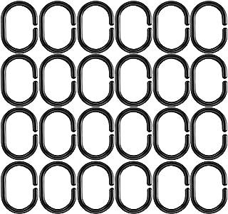 HONGECB Anneaux de Douche Plastique, Noir Anneaux de Suspension de Rideau, Crochets de Rideau de Douche en Forme de C, pou...