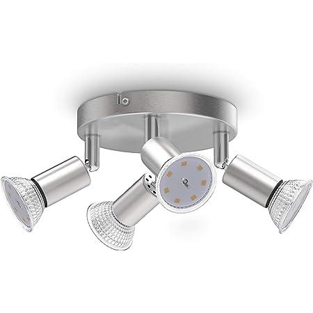 B.K.Licht plafonnier LED, 4 spots pivotants, avec ampoules LED GU10 3W 250lm, lumière blanche chaude, éclairage plafond chambre, salon salle à manger cuisine, Ø18cm