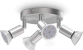 B.K.Licht plafonnier LED, 4 spots pivotants, avec ampoules LED GU10 3W 250lm, lumière blanche chaude, éclairage plafond ch...
