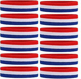 ONUPGO Sweatband Headbands/Wristbands for Men & Women - 3PCS/6PCS/12PCS Sports Headbands Moisture Wicking Athletic Cotton Terry Cloth Wristbands Head Band