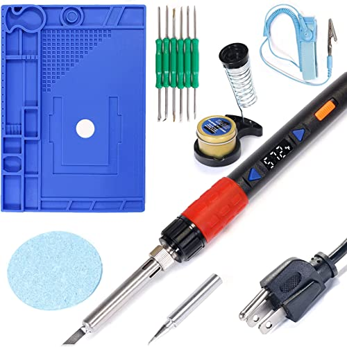 """YIHUA 928D-III Hand Soldering Iron bundle with 17.32"""" x 12.20"""" M180 Electronic Repair Mat (assistive hand tools included) with Iron Holder, Cleaning Kit, and Accessories (13 Items)"""