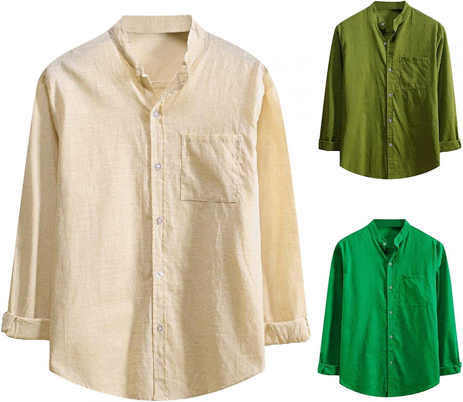 JSPOYOU Button Up Shirt for Men Long Sleeve Slim Fit Dress Shirts Casual Regular Fit Collared Blouse Tops with Pockets