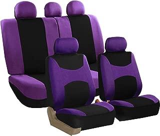 FH Group FB030115 Light & Breezy Flat Cloth Full Set Car Seat Covers Set, Airbag & Split Ready w. Gift, Purple/Black- Fit Most Car, Truck, SUV, or Van
