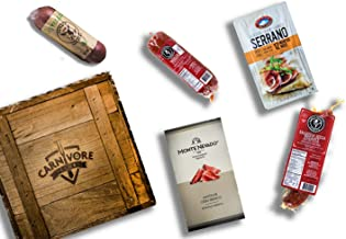 Carnivore Club Gift Crate - 4 to 6 Artisan Cured Meats - Classic Man Snack Gift Basket - Comes in a Handcrafted Wooden Crate - Great with Crackers Cheese Wine - Gift For Men and Women - Cured Meats