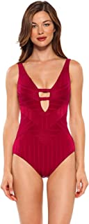 Becca by Rebecca Virtue Women's Textured Adjustable Strap Plunge One Piece Swimsuit Swimsuit