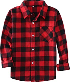 Little Girls' Boys' Long Sleeve Button Down Plaid Flannel Shirt