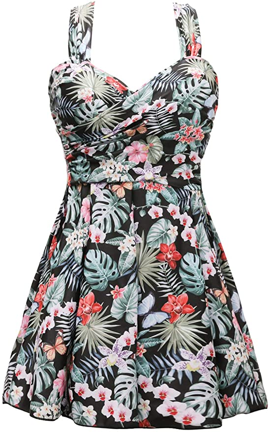 1950s Style Clothing & Fashion COCOPEAR Womens Elegant Crossover One Piece Swimdress Floral Skirted Swimsuit(FBA)  AT vintagedancer.com