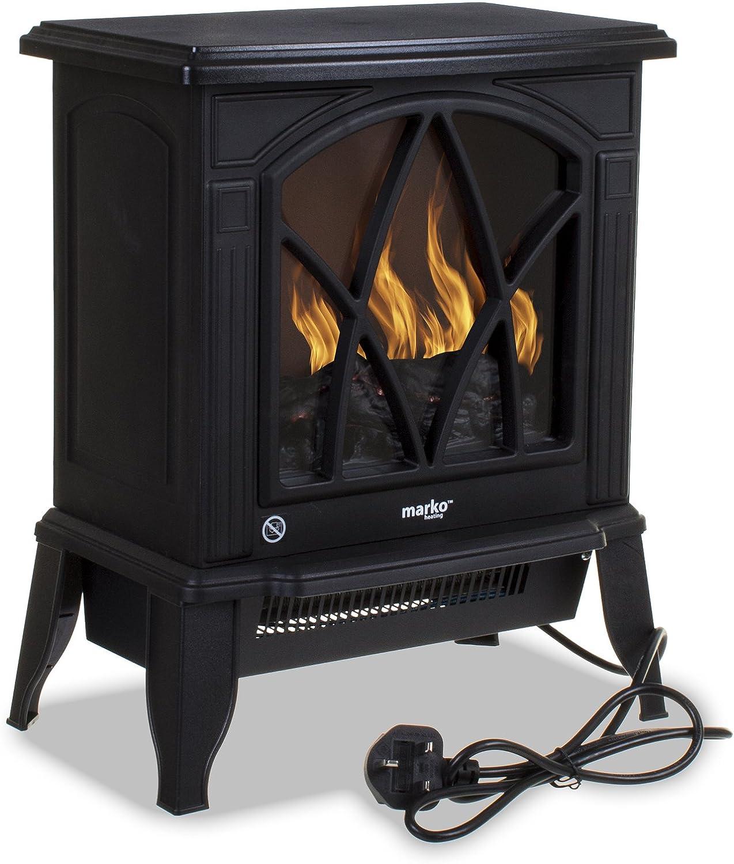 Marko Heating Electric Fireplace 1.8KW Fire Wood Flame Heater Stove Living Room Log Burner
