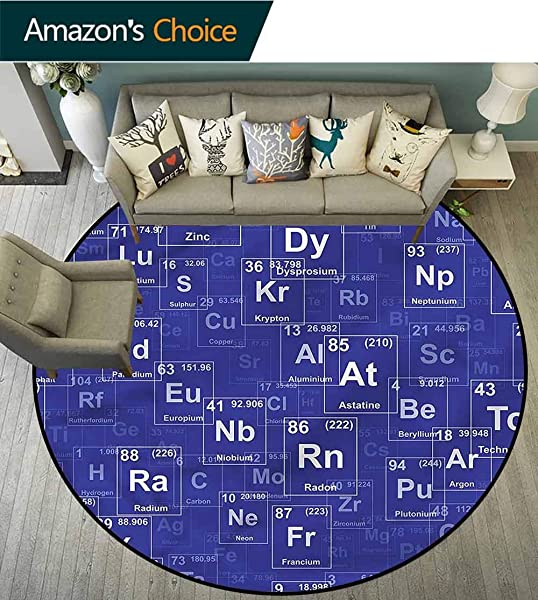 RUGSMAT Periodic Table Round Area Rug Carpet Chemistry Theme Pattern Floor Seat Pad Home Decorative Indoor Diameter 47