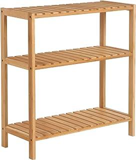 SONGMICS Estantería de Bambú para Baño, Librería, Organizador, Zapatero, 60 x 26 x 66 cm BCB33Y