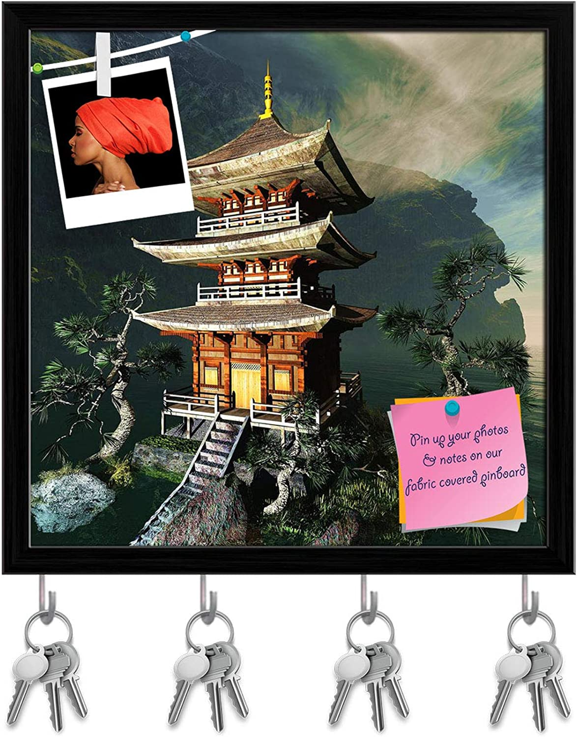 Artzfolio Zen Buddha Temple D3 Key Holder Hooks   Notice Pin Board   Black Frame 20 X 20Inch