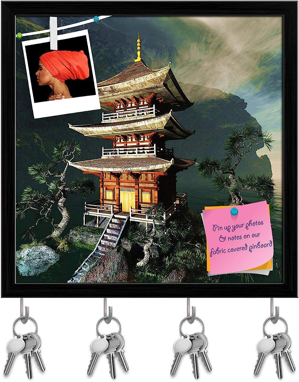 Artzfolio Zen Buddha Temple D3 Key Holder Hooks   Notice Pin Board   Black Frame 20 X 20Inch