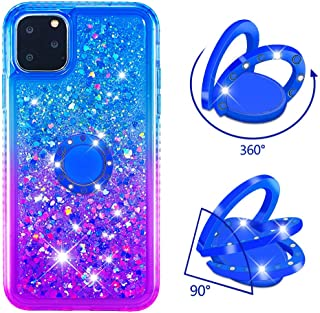 YMHML iPhone XI Pro iPhone 11 Pro Case Shock Absorption Air Cushion Anti-Scratch Drop Protection Side Diamond Soft TPU Cover Slim Case for iPhone XI/11 Pro 5.8 inch with Diamond Ring (Blue+Purple)