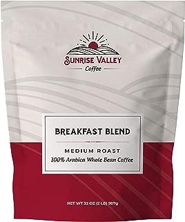 Sunrise Valley Coffee Breakfast Blend Medium Roast Arabica Whole Coffee Beans 32 oz. Bag