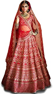 Zeel Clothing Women's Art Silk Semi-stitched Lehenga Choli (Red, Free Size)