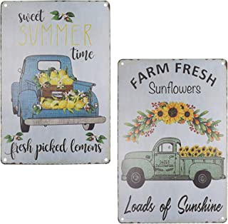 TISOSO Two Truck With Farm Fresh Sunflowers Lenmon Vintage Metal Tin Sign Wall Art Decor Home Coffee Bar Signs Gifts Decor...