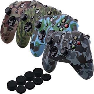 YoRHa Water Transfer Printing Camouflage Silicone Cover Skin Case for Microsoft Xbox One X & Xbox One S controller[After 8.2016 model] x 4(forest+navy+desert+snow) With PRO thumb grips x 8