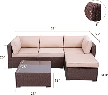 Green4ever Outdoor Furniture Set 5 Piece Patio Sectional Rattan Couch Sofa Sets, All Weather PE Wicker Conversation Set with