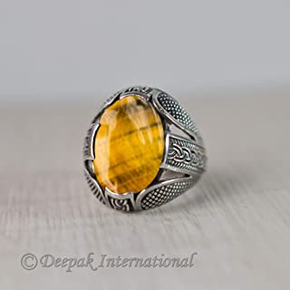 Tiger Eye Gemstone Ring, Solid 925 Sterling Silver Jewelry, Heavy Ring, Man's Wear Ring, Oxidized Arabic Ring, Fashionable Ring, Statement Ring, Handmade Ring, Anniversary Gift Jewelry