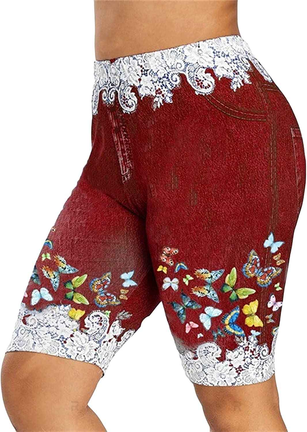 Women's Printed Legging Short Jeans Austin Mall Sale special price Bermud Length Butterfly Knee
