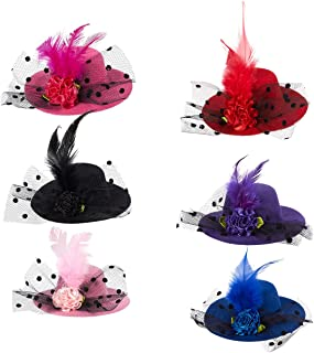 Mini Hat Hair Clip - 6 Pack Decorative Hair Accessories for Baby, Kid, and Lady, Fascinator Hats for Party, Tea or Cocktail Party with Flowers, Feather, Ribbon, and Netting in 6 colors, 3.2 inches