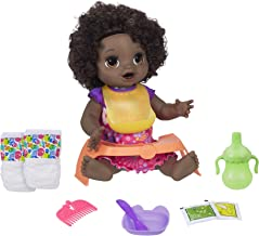 Baby Alive Happy Hungry Baby Black Curly Hair Doll, Makes 50+ Sounds & Phrases, Eats & Poops, Drinks & Wets, for Kids Age 3 & Up