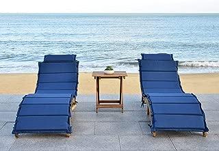 Safavieh 3 Piece Outdoor Collection Pacifica Lounge Set, Teak Brown/Navy