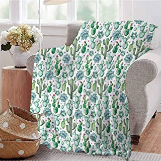 KFUTMD Summer Comforter Blanket Hand Painted Style Exotic Plant Collection Saguaro Prickly Pear Succulents Spikes Multicolor Dorm Bed Baby Cot Traveling Picnic W70 xL84