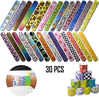 CHIYU 30 Pcs Slap Bracelets Party Favors with Colorful Hearts Animal Print Design Slap Bands for Kids Boys and Girls Birthday Party Classroom Gifts.
